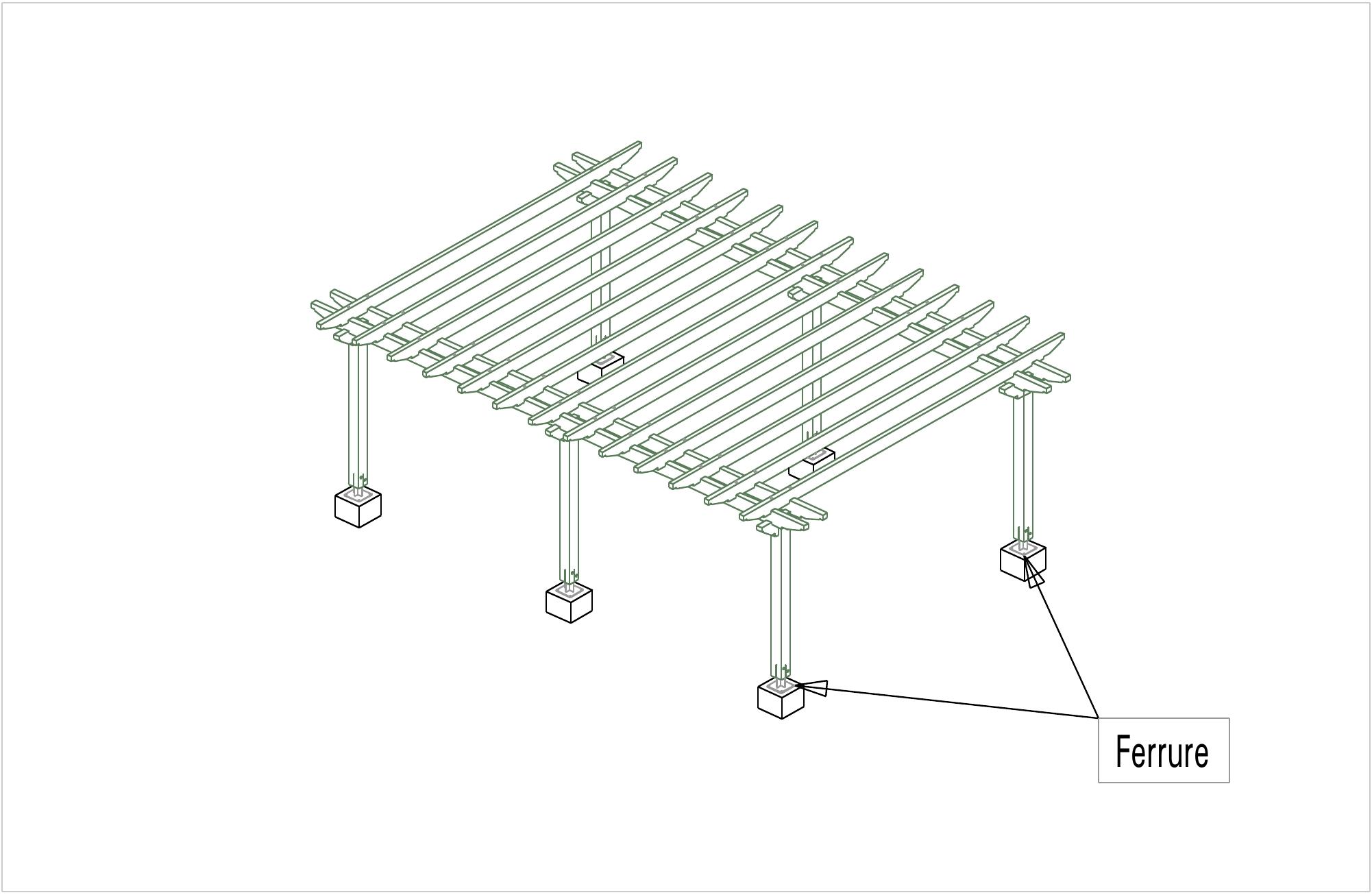 pergola 6 poteaux pergola bois jardin martin charpentes. Black Bedroom Furniture Sets. Home Design Ideas
