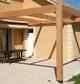 Entreprise construction bois : pergola avec toile tendue en charpente traditionnelle, Meuse - Martin charpentes