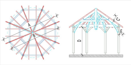 charpente bois octogonale