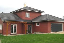 Entreprise de construction bois : maison individuelle en ossature bois & bardage rouge – Meurthe et Moselle – Martin charpentes
