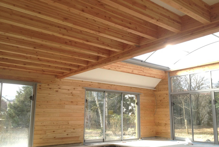 Extension piscine couverte ossature bois marne martin for Ossature bois pour piscine